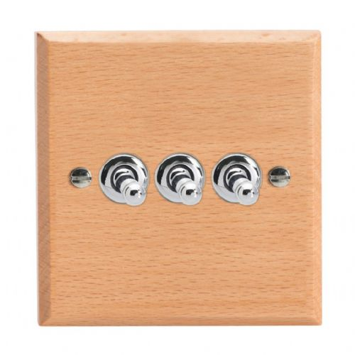Varilight XKT3BE Kilnwood Scandic Beech 3 Gang 10A 1 or 2 Way Toggle Light Switch